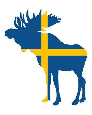 Bandiera svedese e alce  Archivio Fotografico - 7076356