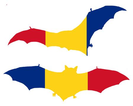 transylvania: Flag of Romania with bat Illustration