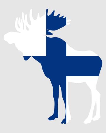 finnish: Moose in finnish flag Illustration