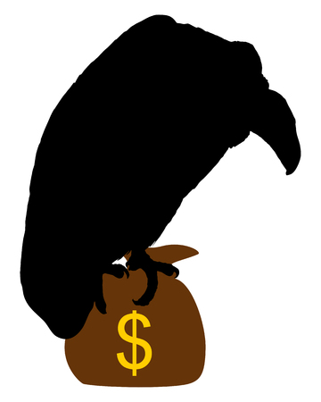 moneybag: Vulture with moneybag  Illustration
