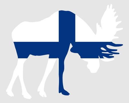 rutting: Rutting moose in finnish flag