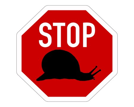 Stop sign for slugs photo