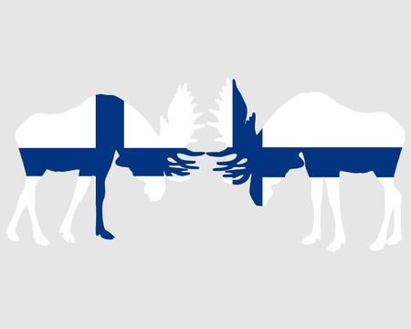 rut: Rutting moose in finnish flags