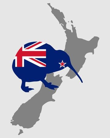 Nieuwe Zealands-kiwi  Stock Illustratie