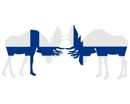 finnish: Rutting moose in finnish flags