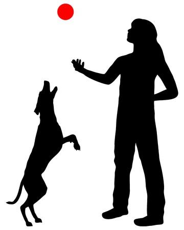 mujer con perro: Formaci�n de perro