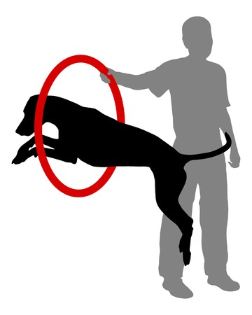 woman jump: Dog training Illustration