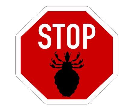 piojos: Se�al de Stop para piojos  Vectores
