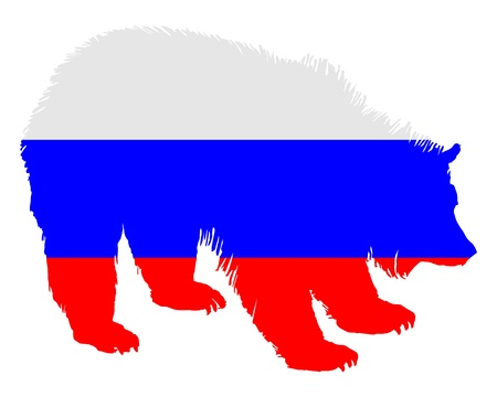 Flag of Russia with brown bear photo