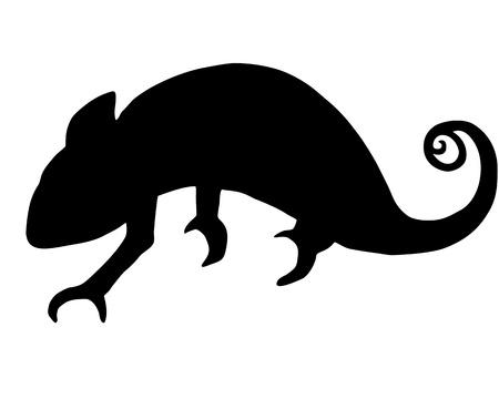 chameleon lizard: Chameleon silhouette Vettoriali