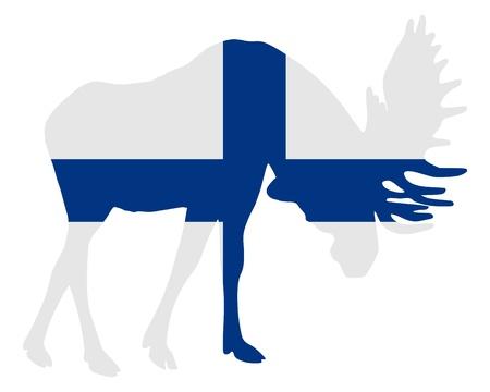 rut: Rutting moose in finnish flag