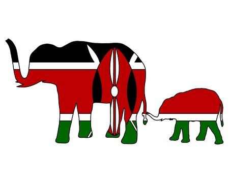 kenya: Kenya elephants Illustration