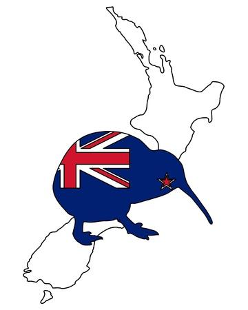 bandera de nueva zelanda: Kiwi de Nueva Zelanda Foto de archivo