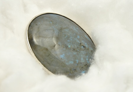 labradorite: Labradorite mineral on cotton Stock Photo