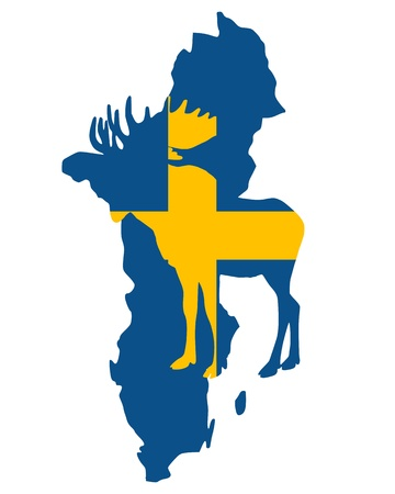 sweden flag: Swedish moose Illustration