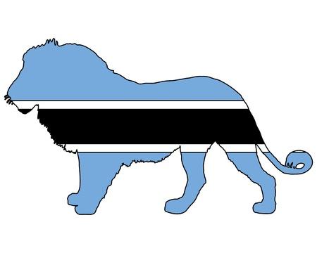 botswana: Lion Botswana Illustration