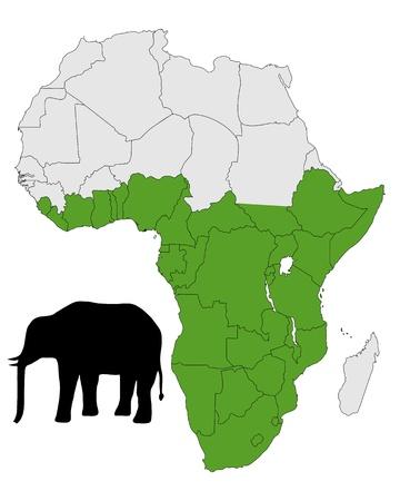 silhouettes elephants: Rango de distribuci�n del elefante africano