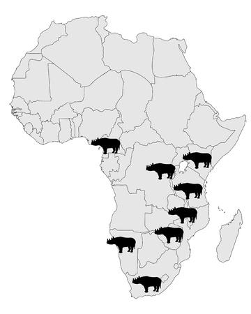 Rhinoceros range Vector