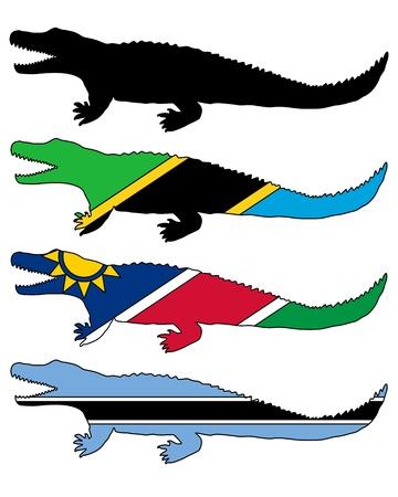 Nile crocodile flags Vector