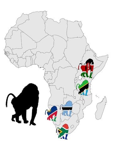 mandril: Mapa de rango de babuino