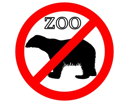 Polar bear in zoo prohibited Stock Vector - 9348570