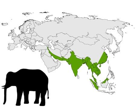 asian elephant: Asian elephant range Illustration