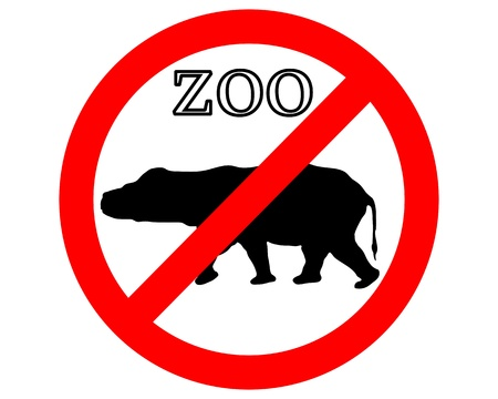 Hippo in zoo prohibited Stock Vector - 9348123