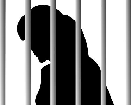 prision: Mujer tras las rejas Vectores