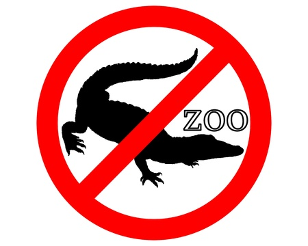 aviary: Crocodile in zoo prohibited Illustration