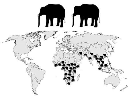 Elephants range Vector