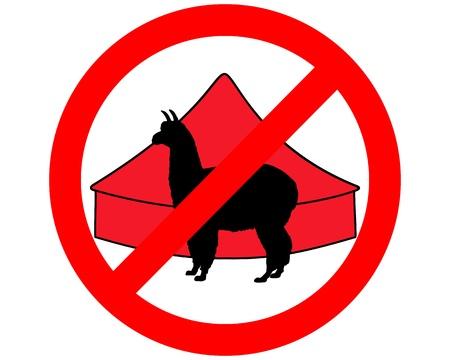 Alpaca in circus prohibited Vector