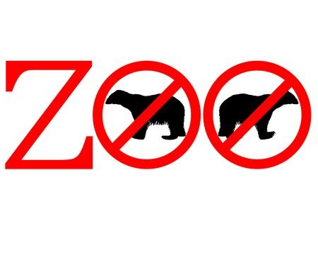 Polar bear zoo prohibited Vector