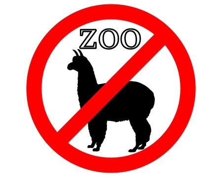 Alpaca in zoo prohibited Vector