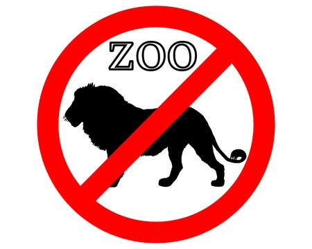 Lion in zoo prohibited Stock Vector - 9409723