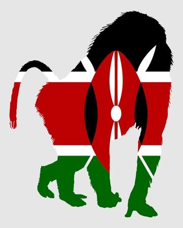 kenya: Baboon Kenya Illustration