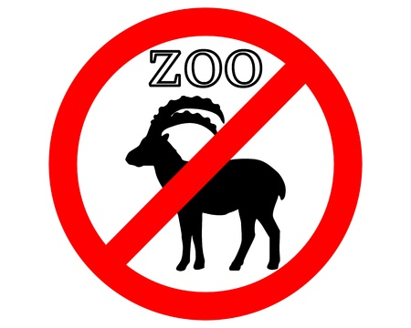 Alpine ibex in zoo prohibited Stock Vector - 9409672
