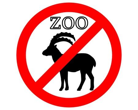 Alpine ibex in zoo prohibited Stock Vector - 9409672