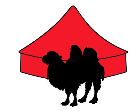 Bactrian Camel in circus Stock Vector - 9409698