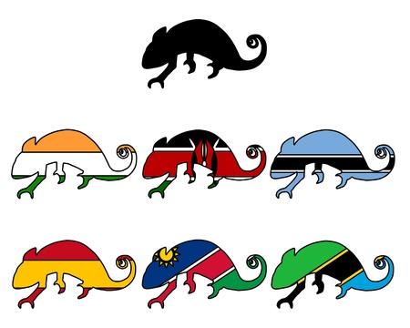 botswana: Chameleon flags