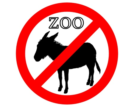 Donkey in zoo prohibited Vector