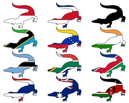 botswana: Crocodile flags Illustration