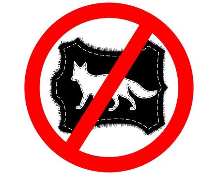 Prohibition sign fox fur Vector