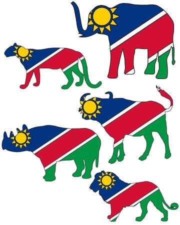 big five: Namibia cinque grandi  Vettoriali