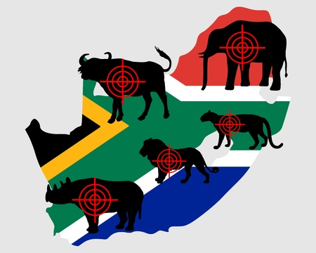 Big Five South Africa cross lines Vector