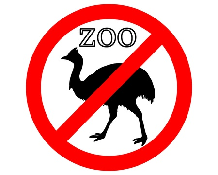 petting zoo: Cassowary in zoo prohibited Illustration