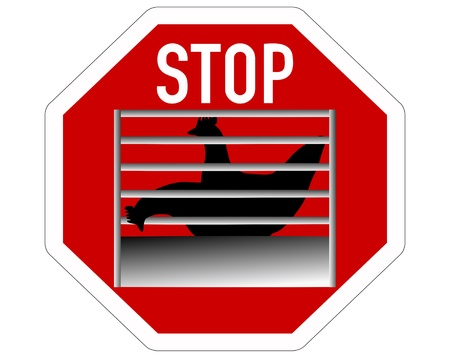 Stop sign caging of hen Stock Vector - 9676966