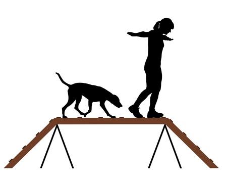 女性と犬ドッグウォーク  イラスト・ベクター素材