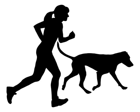 hunting dog: Woman jogs with dog Illustration