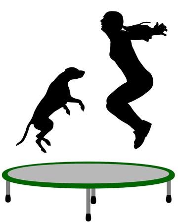 Donna e cane trampolino Archivio Fotografico - 9829582