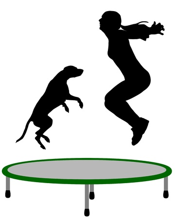 agility people: Woman and dog trampoline Illustration